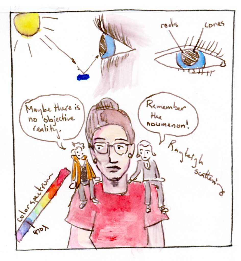 "Em in center of panel with different images indicating her thoughts surrounding: above, light leaves the sun and bounces off blue paint into the eye. An image of an eye with the words ""rods"" and ""cones"". The term ""Rayleigh scattering."" A color spectrum with 470 lambda (nanometers) pointed out. On her right shoulder, Derrida says ""Maybe there is no objective reality."" On her left shoulder, Kant says, ""Remember the noumenon!"""