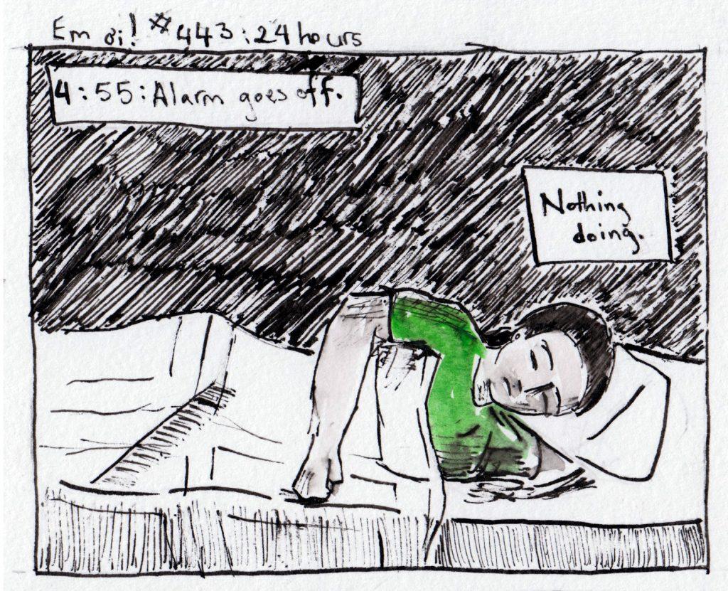 Em lying in bed, sleeping through alarm.