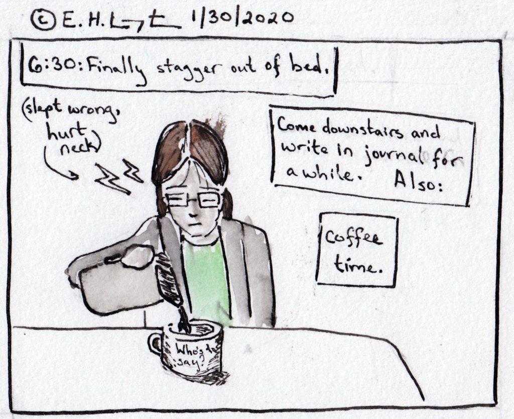 Em pouring coffee.
